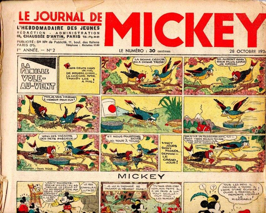 Niveau scolaire: le journal de mickey en 1934 sur https://l-ecole-a-la-maison.com Mickey1web